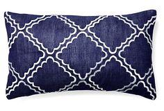 Malibu 14x24 Embroidered Pillow, Navy on OneKingsLane.com