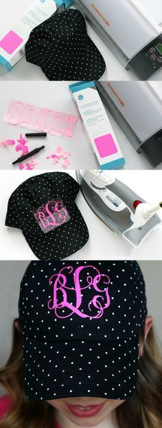 Make your own monogrammed baseball hat using heat transfer vinyl and your Silhouette to embellish a plain hat. www.pitterandglink.com