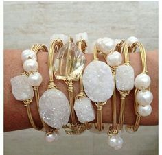 Stackable wire bracelets with pearls and druzy quartz.