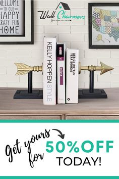 Up your Game with these Cast Iron Bookends! The perfect way to display your favorite books! These amazingly detailed and unique Arrow bookends are hand crafted of cast iron and add personality to any bookshelf. Add style to your home library or any room while firmly holding together your favorite book collection. If you're looking to create that HGTV home, this beauty is a MUST! Especially at 50% off (for a limited time.) You can't go wrong! Rustic Wall Clocks, Metal Wall Decor, Farmhouse Bookends, Modern Bookends, Book Collection, Metal Walls, Hgtv, Decorating Your Home, Cast Iron