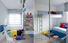 """O quarto de Arthur, 4 anos, dobrou de tamanho ao ser anexado ao terceiro quarto do apartamento. """"Tem brinquedoteca e estante de um lado e, do outro, a cama dele e um beliche"""", explica a mãe Carolina. Projeto da designer de interiores Magda Marconi"""