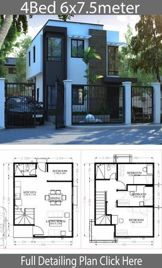 Small Home design plan with 4 Bedrooms - Home Design with PlansearchYou can find Small house design and more on our website.Small Home design plan House Layout Plans, Duplex House Plans, House Layouts, Small House Plans, House Floor Plans, Tiny House Layout, Simple House Design, House Front Design, Minimalist House Design