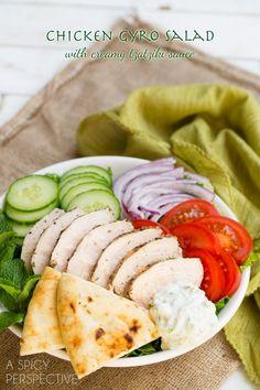 Chicken Gyro Salad (or Wraps) with Creamy Tzatziki Sauce! #gyro #salad #tzatzikisauce
