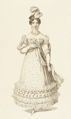 Evening dress, fashion plate, hand-colored engraving on paper, published in Ackermann's Repository, London, July 1819.