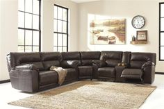 Barrettsville DuraBlend  Chocolate Sectional W/Console Loveseat