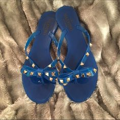 Valentino flip flops Worn 3 times. PERFECT condition. Blue Valentino flip flops with gold studs on bows Valentino Shoes Sandals