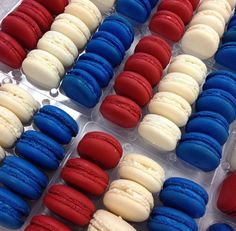 4th of july macarons! Presented perfectly in our Red or White Macaron Box: http://www.aspecialtybox.com/Macaron
