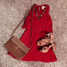 Red Dress Red embroided dress, linen, never worn Francesca's Collections Dresses Mini