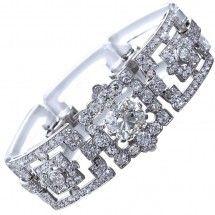 Diamond & Rock Crystal Art Deco Bracelet