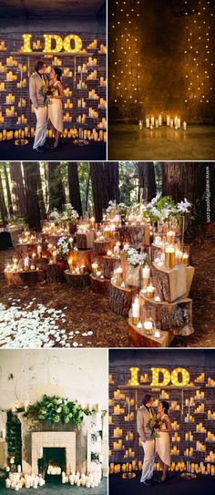 rustic lighting wedding backdrops with candles