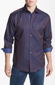 Bugatchi Polka Dot Shaped Fit Cotton Sport Shirt available at #Nordstrom