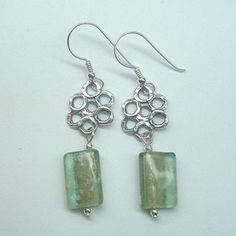 Roman Glass Set Earrings Sterling Silver Jewellery Floral Jewelry Dangle Aritos | eBay