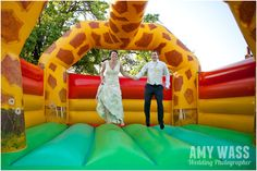 Bouncy Castle at Fun Outdoors Wedding at Taplins Place, Hampshire  www.amywass.co.uk