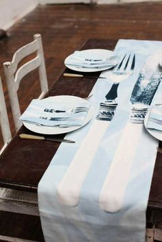 New 'Dinner Party' table runner and napkins by Jennifer Slattery - available online now at Garrendenny Lane - fabulous wedding gift