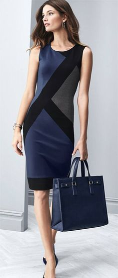 @roressclothes clothing ideas #women fashion dress WHBM Graphic Print Sheath: