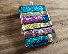 She Sparkles And Shines - Dichroic Fused Glass Pendant - Dichroic Fused Glass Necklace