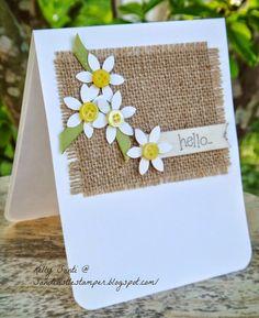 Handmade Birthday Cards, Greeting Cards Handmade, Burlap Card, Burlap Ribbon, Tarjetas Diy, Button Cards, Paper Cards, Fun Cards, Flower Cards
