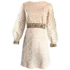 1960s Ivory and Gold Lace   Sequins Mod Vintage A - Line 60s Babydoll Dress | From a collection of rare vintage day dresses at https://www.1stdibs.com/fashion/clothing/day-dresses/