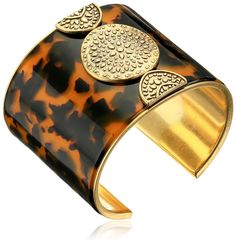 Lucky Brand Tortoise Major Cuff Bracelet. Made in China. Lucky Brand fashion jewelry with etched metal finish and colorful elements. Imported.