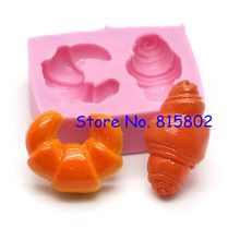 Trasporto libero GYL084U croissant muffa del pane stampo in silicone stampo flessibile-miniature dolci dollhouse bakery kitsch(China (Mainland))