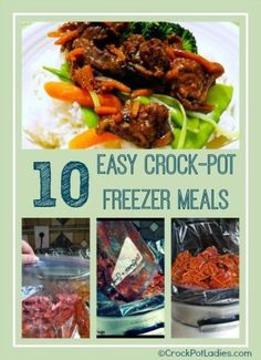 10 Easy Crock-Pot Freezer Meals: 10 super easy recipes for freezer meals you can make ahead dinner and then cook in your slow cooker. With free printable shopping list for all ingredients needed!