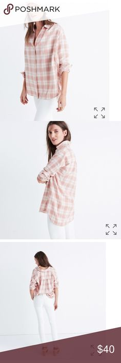 Madewell central button shirt in Danville plaid. NWT! Madewell Central cut, long sleeve, button down shirt in Danville plaid. Blush and white. Super soft fabric. Slightly oversized. Machine wash. Perfect for a Christmas gift! Madewell Tops Button Down Shirts