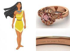 Quero este!!   Poderoso como Pocahontas a versão joia da princesa leva ouro rosé com granada vermelha e quartzos negros