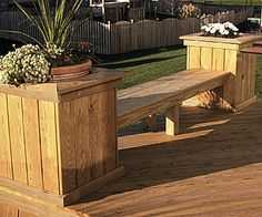 Bench with planters and the deck is wonderful too.