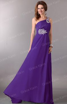 Evening Formal Prom Ball Gown Party One Shoulder Cocktail Bridesmaid Long Dress | eBay (Available in Purple and Blue) $36.86 + 8.99 shipping