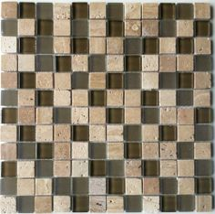 Marble Discount Chocolate Stone Glass Blend Mosaic Wall Tile 1 X 1 At Menards