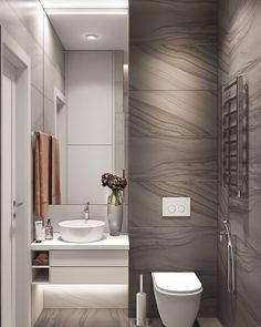 Modern Bathroom Trash Can Modern Small Bathrooms, Narrow Bathroom, Small Bathroom Storage, Amazing Bathrooms, Bathroom Organization, Organization Ideas, Washroom Design, Bathroom Design Luxury, Modern Bathroom Design