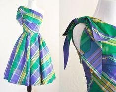 #VogueTeam #EtsyGift #TodayInBiz #vintage1950s Plaid Taffeta Party Dress One Shoulder Circle Skirt Union Made