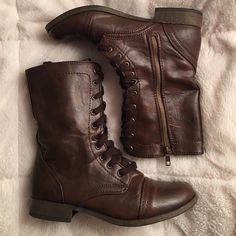 Brown Combat Boots These boots were only worn twice! In absolute excellent condition! No longer wear them. Mossimo Supply Co Shoes Combat & Moto Boots
