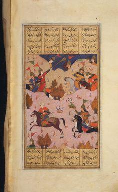 Giv strikes crown from Tazhav head Shahnama Princeton Islamic MSS., no. 56G