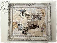 Repurpose and old frame into a french memo board / picture holder... so pretty!