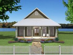 This small house has a big heart. Two nice sized bedrooms with walk-in closets. Two full baths, one private and one for family and guests. Two covered p. Cottage Style House Plans, Cottage House Plans, Country House Plans, Country Style Homes, Small House Plans, Cottage Homes, Little House Plans, The Plan, How To Plan