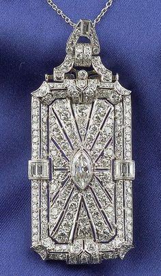 Art Deco Platinum and Diamond Pendant/Brooch