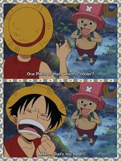 Luffy, Chopper, text, quote, funny, stag beetle, One Piece; Photo Collages