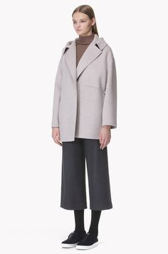 Over collar wool cashmere open jacket