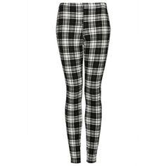 TOPSHOP Monochrome Denim Check Leggings (335 DKK) ❤ liked on Polyvore featuring pants, leggings, bottoms, trousers, jeans, ecru, checkered leggings, checked leggings, topshop leggings and black and white checkered leggings