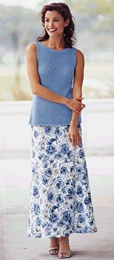 Modest blue floral skirt with teal tank top.  Even the smile is modest.  Talbots c. 1997