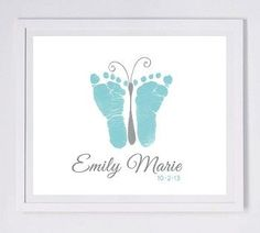 Baby footprint art, forever prints by hand and footprint Keepsake for kids or babies. Mother's Day, New Mother, Nursery Art Baby In loving memory - Baby & Kleinkind - unique crafts Crafts To Do, Crafts For Kids, Arts And Crafts, Crafts With Baby, Baby Footprint Art, Diy Bebe, Baby Footprints, Butterfly Footprints, Handprint Art