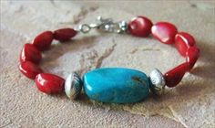 "Handmade bracelet - ""Red Hot Chilies"" kingsmen turq. + carnelian"