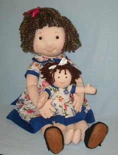 23 inch cloth doll + her own 10 inch rag doll sewing pattern PDF. Pattern includes both dolls plus their outfits.