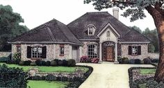 Eplans French Country House Plan - Impressive Entry Entices - 1736 Square Feet and 3 Bedrooms from Eplans - House Plan Code HWEPL05179