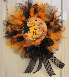 Witching you a Happy Halloween Ruffled Deco Mesh by RamonaReindeer, $60.00