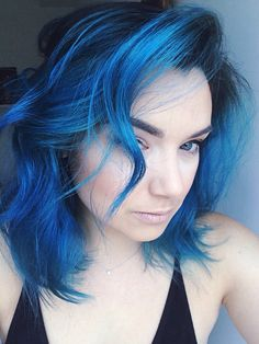 Beautiful electric blue pravana color with dark roots