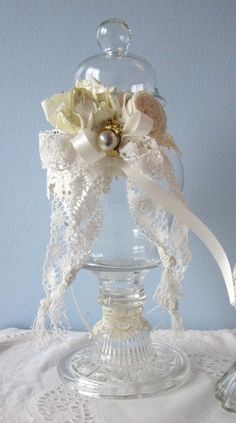 Apothocary JAR/Bottle Shabby Chic Cream White by RoseChicFriends, $28.99
