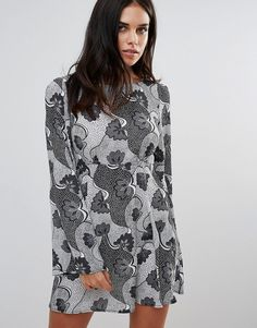 Buy it now. Love Monochrome Print Smock Dress - Multi. Dress by Love, Lightweight printed fabric, Boat neck, Flared sleeves, Regular fit - true to size, Machine wash, 100% Polyester, Our model wears a UK 10/S/EU S/US XS and is 168cm/5'6 tall. ABOUT LOVE Fast becoming a celebrity favourite, coveted label Love brings forth a collection of ultra-pretty dresses that are perfect for both work and play. With carefully considered cut-outs and sculptural shapes, look to Love for feminine wrap…