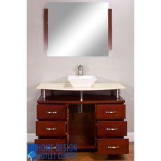 "ALYA-BW-700-42-C-CM 42"" Cherry Single Modern Bathroom Vanity   Cream Marble Top"